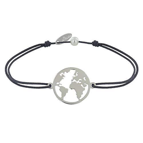 Schmuck Les Poulettes - Armband Link Silber Runde Medaille Weltkarte - Grau