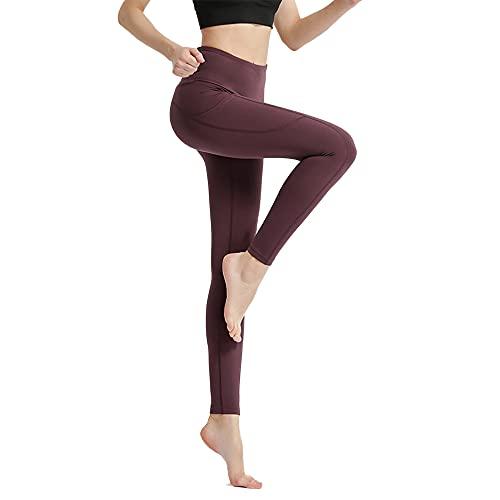 BOEYAA Pantalones de yoga de cintura alta para mujer con bolsillo pantalones de fitness pantalones de correr, cinturón hueco pantalones de alta elasticidad no transparente (púrpura, L)