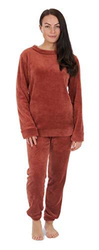 CityComfort pyjama voor dames, set van 2 pyjama met lange bovenstukken en broeken, polarfleece huispak, knuffelig en warm flanel nachtgoed, PjS voor vrouwen, geschenken voor dames