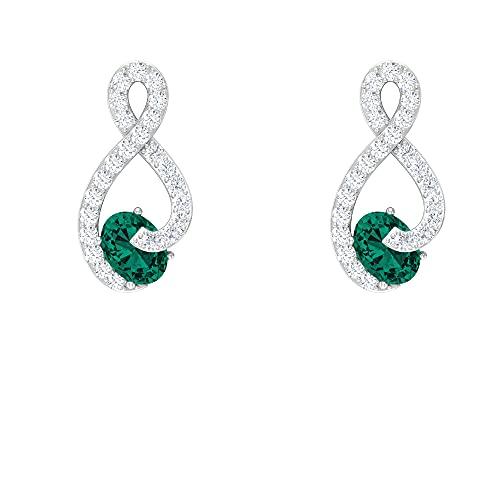 Pendientes de tuerca con esmeralda rusa y diamantes de imitación de 1/2 CT (calidad de reliquia), rosca en la parte trasera, Metal, Esmeralda rusa creada en laboratorio Diamond,