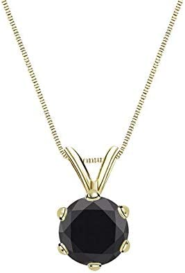 Shiv Jewels Stud 6 Prong Basket Pendant Chain for Women 1.25 carats Black Moissonite Diamond Yellow Gold Plated Pendant Gift for Her Pendant for Girls