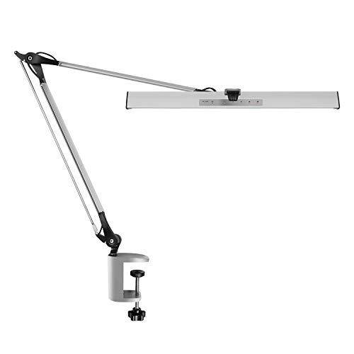 YOLIC デスクライト LED 電気スタンド スタンドライト 高輝度 2030Lx 調色調光 1200LM クリップライト アームライト 卓上ライト 読書灯 目に優しい メモリー機能付き 折り畳み式 勉強 オフィス 在宅勤務 テレワーク シルバー (Silver)