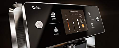 """Saeco Xelsis Super Automatic Espresso Machine, Titanium Metal Front, SM7684/04 & CA6700/47 Espresso Machine Liquid… 4 Premier programming - the xelsis lets you program everything. From milk and espresso volume to dose, temperature, and texture only thing holding back your morning drink is you User profile - and, once you have your favorite drinks dialed-in, you can save them to your dedicated profile for easy access Touchscreen control - The xelsis showcases its programming prowess with an accurate 3. 5"""" Touchscreen"""