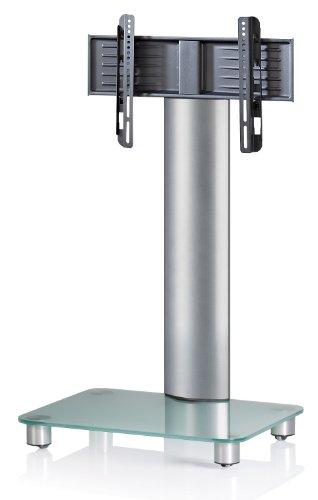 VCM TV-Standfuß LED Halterung Ständer Fernseh Standfuss Alu Glas Universal Silber VESA Mobil Rollen