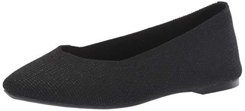 Skechers Women s Cleo-Skokie-Metallic Engineered Knit Skimmer Ballet Flat  Black  8 M US