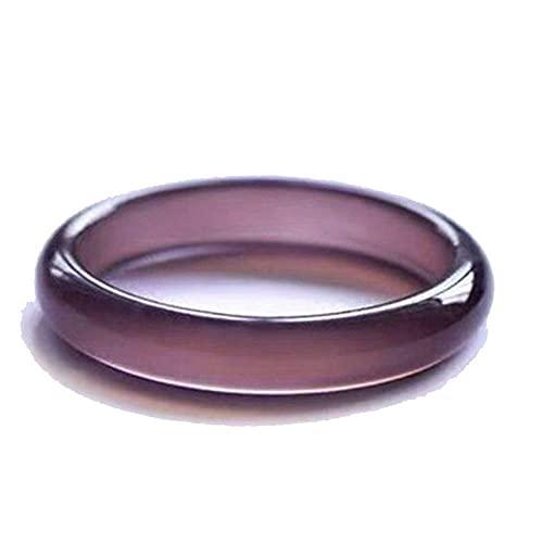 QVQV Pulsera de Jade auténtico Natural Ice King Pulsera de Jade de calcedonia púrpura Pulsera de ágata de calcedonia púrpura Femenina Pulsera de Jade con Caja de Regalo 56-62 mm