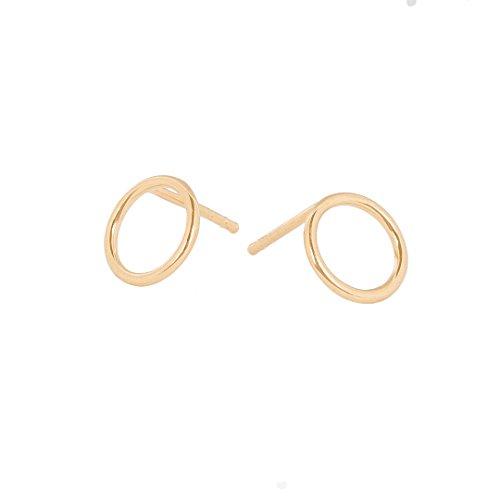 Pernille Corydon Damen Ohrstecker HALO Gold kreis-runde Stecker Ring Stecker 925er Sterling Silber vergoldet - E610g