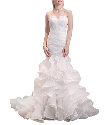 Wanshaqin Women's Mermaid Strapless Sweetheart Wedding Dresses for Brides Organza Ruffled Bridal Gown Long Train Ivory