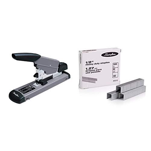 """Swingline Heavy Duty Stapler, 160 Sheet High Capacity, Durable Office Desk Staplers, Black/Gray & Staples, Heavy Duty, 1/2"""" Length, 90 Sheet Capacity, 100/Strip, 1000/Box, 1 Pack, Silver"""