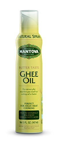 Mantova Ghee Oil, 100% Pure Cooking Oil Spray, Omega-3, perfect for Keto snacks, baking, grilling, or cooking, our oil dispenser bottle lets you spray, drip, or stream with no waste, 5 oz