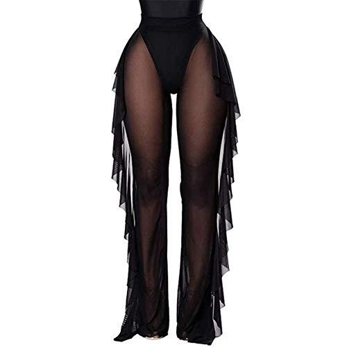 RUEWEY Damen-Badeanzug, durchsichtig, Netzgewebe, Überzug, Bikinioberteil, elastische Taille, breite Beine, Palazzo-Hose - Schwarz - XX-Large