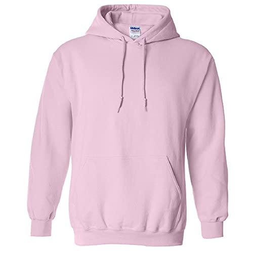 Gildan - Sudadera con capucha para hombre rosa claro Medium