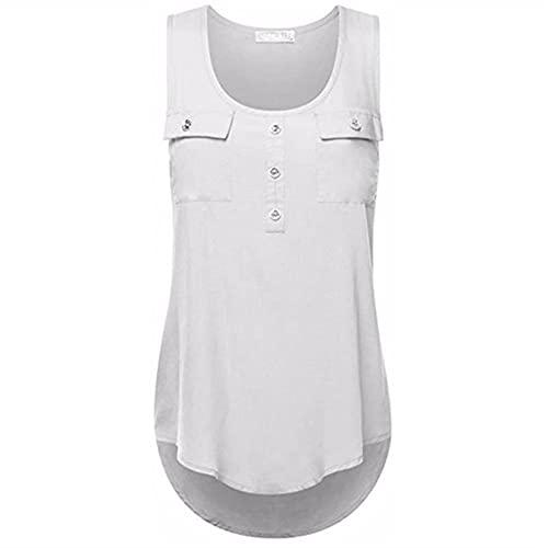 Camiseta Sin Mangas Mujer Verano Cómoda Elegante Suelta Moda Cuello Redondo Sin Mangas Top Bolsillo Decoración Vacaciones Casual Nueva Mujer Camisa A-White 3XL