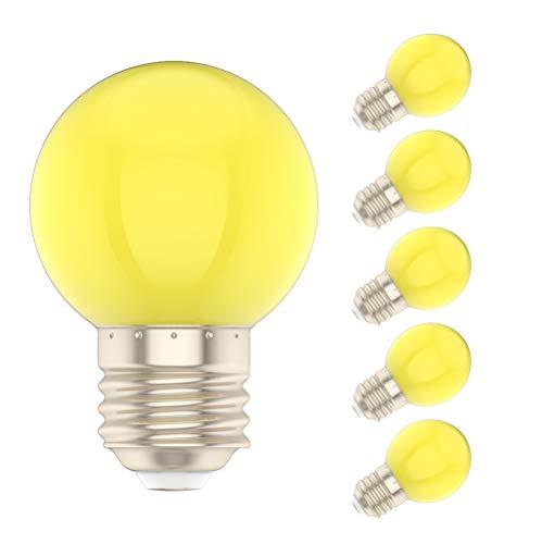 5X E27 Bombilla de Color 1W Lámpara Amarillo 100LM Bombilla LED Equivalente a Halógenas 10W AC220V-240V