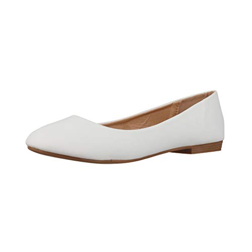 Elara Damen Ballerina Bequeme Slip Ons Flach Chunkyrayan B3039H BL White 39
