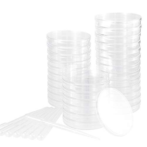 UPlama Petri Dish Set with Lids, Pack of 30 90mm x 15mm Sterile Plastic Petri Dish Set with 100 Plastic Transfer Pipettes (3ml) Perfect Kit for School Science Fair Projects Birthday Parties