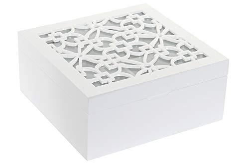 Space Home - Caja para Bolsitas de Te - Caja para Infusiones - Almacenaje de Cocina - 4 Compartimentos - 18 x 18 cm - Blanco