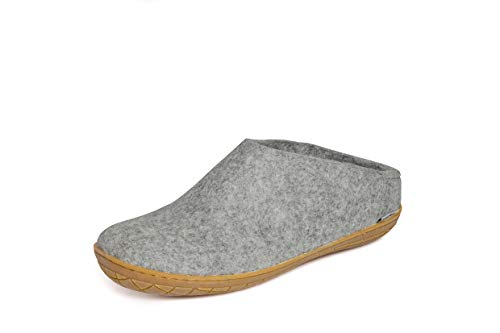 glerups dk Unisex - Erwachsene Filz-Hausschuh BR, Damen,Herren Hausschuh,Huettenschuh, Schafwolle, rutschfeste Gummisohle Grau (Grey), 41 EU / 7.5 UK