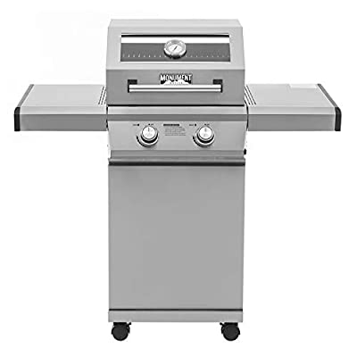 Monument Grills 2-Burner Propane Gas Grill in Stainless with Clear View Lid and LED Controls-14633