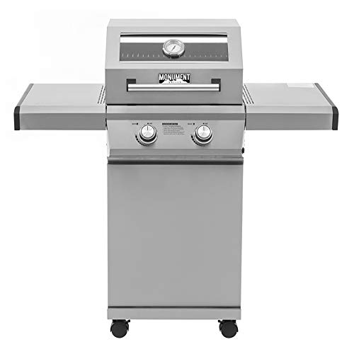 Monument Grills 14633 2-Burner Stainless Steel Liquid Propane Gas Grill with Clear View Lid, LED Controls