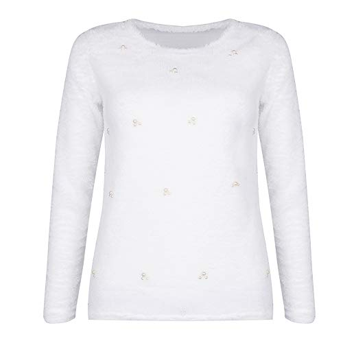 FRIDG Bead Decor Long Sleeve O-Neck Autumn Winter Women Sweater Casual Pullover Top Best Gift for Women White S