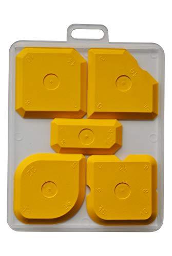 Fugenglätter (gelb) - PROFI Fugenabzieher Set für Silikon, Silikonfugen und Acryl - Fugenspachtel - Glättspachtel