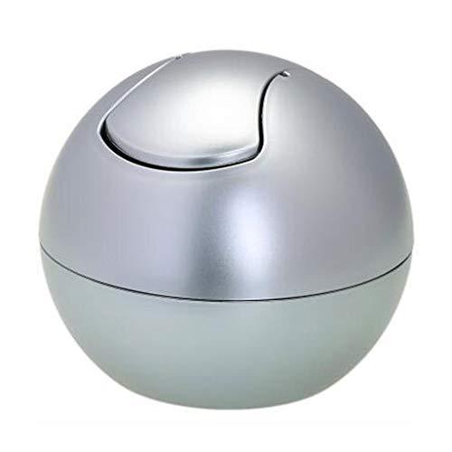Poubelle- Poubelle sphérique 2L poubelle sphérique en plastique plus épais à 360 ° (Couleur : Silver)