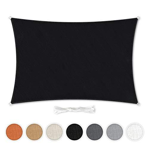 Hometex Premium Textiles Sonnensegel 2×3m Rechteckig inkl. Befestigungseile | Schwarz | Sonnenschutz ideal für Garten, Terrasse, Balkon, Camping | Windabweisender Schattenspender