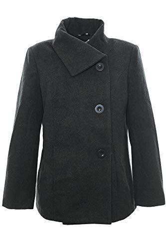 Sheego Kurzmantel Mantel Jacke Winterjacke Wolle Jacke Damen Plusgröße, Farbe:anthrazit, Damengrößen:42