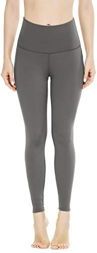 QUEENIEKE - Mallas deportivas para mujer de cintura alta, pantalones de yoga con control de bolsillo, mallas para correr, para gimnasio, fitness, cintura alta y 27 pulgadas gris oscuro M
