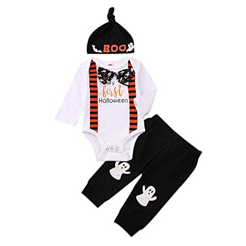 L&ieserram Ropa de bebé para Halloween, 3 piezas, conjunto de ropa de bebé, body de manga larga, pantalones, sombrero, regalo para Halloween, para bebé, Blanco, 3-6 Meses