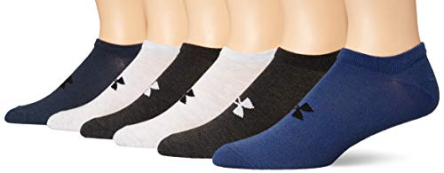 Under Armour Adult Essential Lite No Show Socks, 6-Pairs, Blue Assorted, Shoe Size: Mens 8-12, Womens 9-12