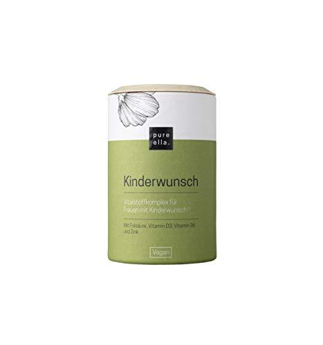 PURE ELLA KINDERWUNSCH, Vitalstoffkomplex für Frauen mit Kinderwunsch, enthält Folsäure, Vitamin B6, Zink und Mönchspfeffer, unterstützt Fruchtbarkeit, vegan und hormonfrei (60 Kapseln)