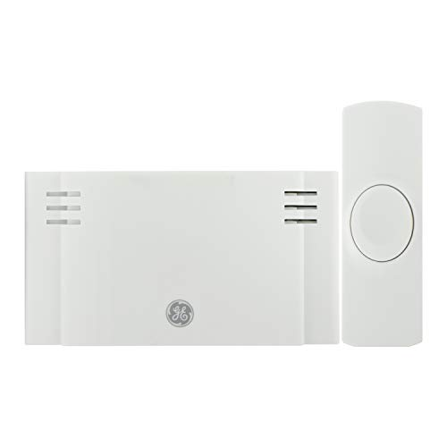 GE Wireless Doorbell Kit, 2 Melodies, 1 Push Buttons, 4 Volume Levels, 150 Ft. Range, Mountable, White, 19247, Battery-Operated Receiver, 2 Each