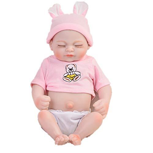 Q-YR Cuerpo Completo Silicona Reborn Doll Baby Baby 27Cm Mini Realista Newborn Dolls Life Real Life Baby Muñecas Niños Regalo De Juguete De Navidad
