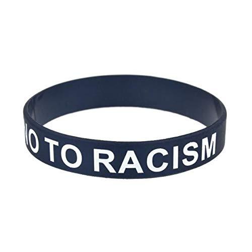 Xlin Pulsera Tenemos Todos Un No Al Racismo Pulsera De Silicona (Color : Black)