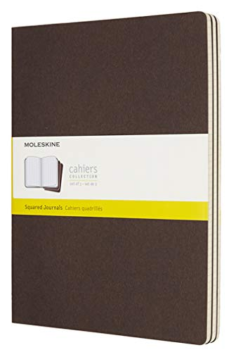 Moleskine Coffee Brown Extra Large Squared Cahier Journal (Set of 3)