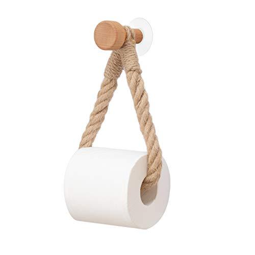 Mercnome Portarrollos para Papel Higiénico, Portarrollos Baño Adhesivo, ortarrollos de papel higiénico de madera, Soporte de Papel higiénico Retro toallero