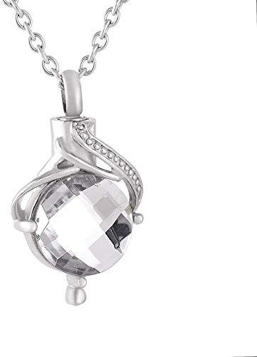 necklace Collar de Moda para Mujer Lágrimas Acero Inoxidable Caja de Ceniza Check Colgante Colgante con Cenizas Joyas Blanco, Color Nombre: Blanco Izar (Color : White)