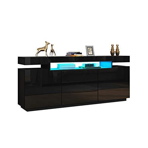 UNDRANDED 160cm LED Beleuchtung Kommode Sideboard Fernsehtisch Unterschrank Anrichte Kommode Hochglanz&Holz mit 2 Türen 3 Schublade (Schwarz)