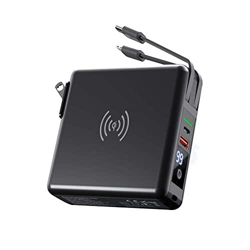 PWQ-01 Batería Externa 10000mAh Power Bank para Móvil 18W Carga Rapida Cargador Portátil con Cables Micro USB e IP Integrados 2 en 1 y Enchufe Plegable de 90° Powerbank para Smartphones Tabletas