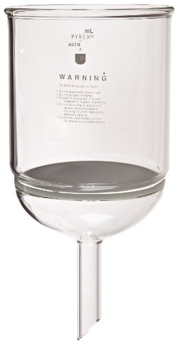 Corning Pyrex Borosilicate Glass Buchner Funnels with Fine Porosity Fritted Disc, 152mm Disc Diameter, 3000ml Capacity