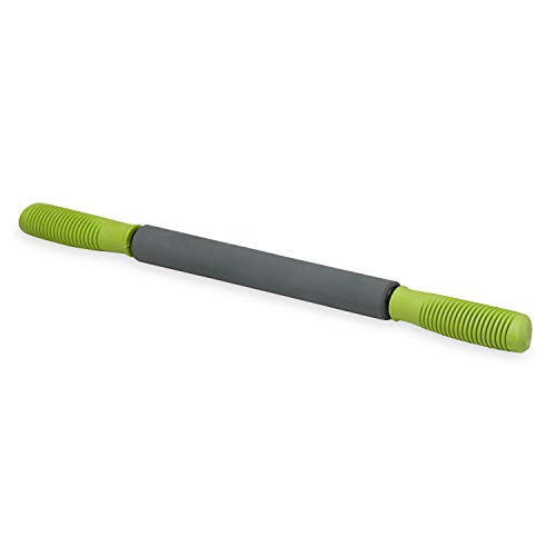 Gaiam Restore Massage Stick Roller - 19' Foam Cushioned Performance Hand Held Muscle Massager | Comfort Grip Handles | Solid Steel Construction