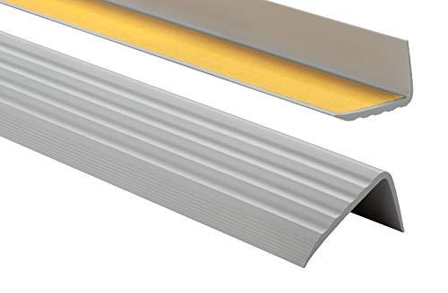 Nez de marche profil d'angle PVC autoadhésif 41x25mm antidérapant, d'escalier-protection, bande de bordure, 80cm, Gris