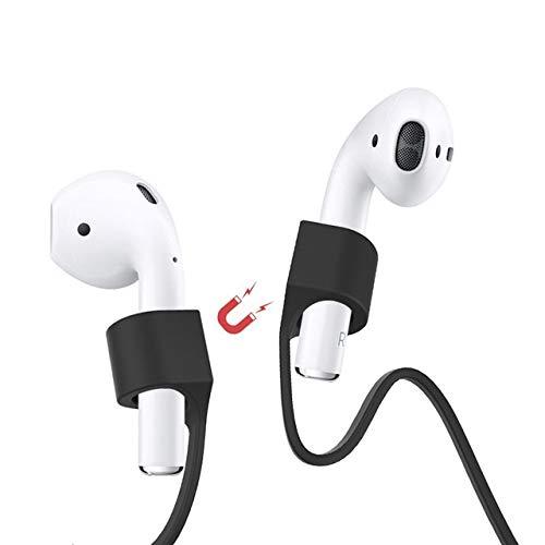 Amial Europe -- Halteband Magnetisch Strap Kompatibel mit AirPods und Drahtloser Kopfhörer [Überlänge 70cm] Silikon Perfekt für Sport und Outdoor Aktivitäten (Schwarz)