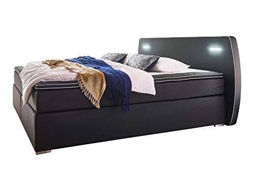 Atlantic Home Collection REX160-LED04 Boxspringbett inklusive LED Beleuchtung und Topper, Schwarz, 160x200 cm