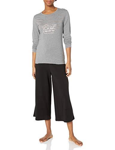 Emporio Armani Damen Stretch Cotton T-Shirt Pyjama-Oberteil (Top), Dunkelgrau Melange, Mittel