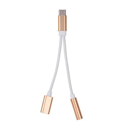 jinclonder Tipo-c Carga de Audio Adaptador de Audio para Auriculares Tipo 2-en-2 a 3.5 a Cable Convertidor USB-C a 3.5 mm Soporta Audio Carga simultánea y Salida de Audio