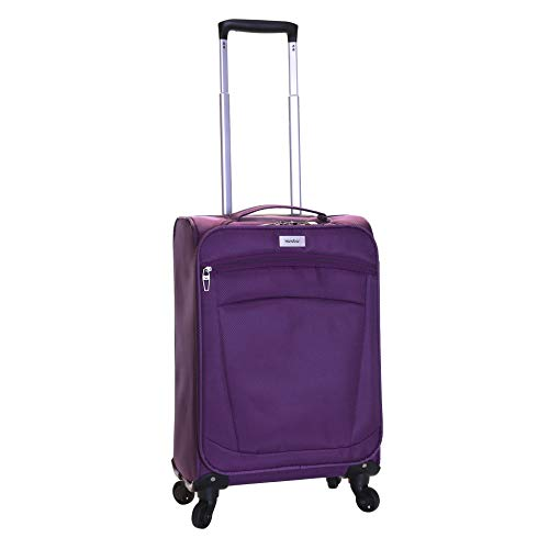 Karabar Leichtgewicht Handgepäck Trolley Koffer Bordgepäck Reisekoffer Gepäck Super Leicht 55 cm 1,8 kg 34 Liter mit 4 Rollen, Marbella Violett