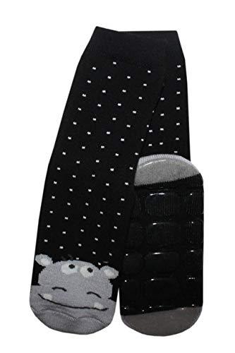 Weri Spezials baby- en kindersok met ABS 'Nilpaferd' in het zwart.